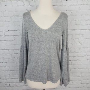 Lord & Taylor Design Lab V-Neck Top Gray sz M